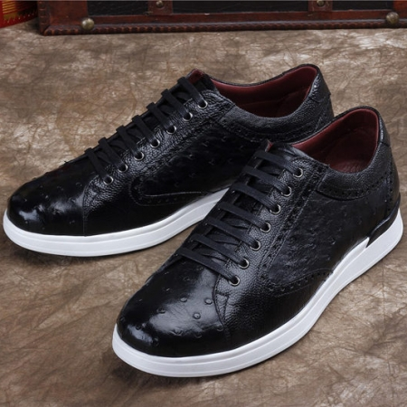 Daily Fashion Ostrich Lace-up Sneaker-Black-Exhibition
