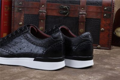 Daily Fashion Ostrich Lace-up Sneaker-Black-Heel