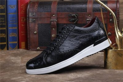 Daily Fashion Ostrich Lace-up Sneaker-Black-Side