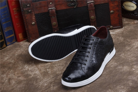 Daily Fashion Ostrich Lace-up Sneaker-Black-Sole