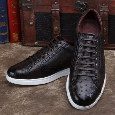 Daily Fashion Ostrich Lace-up Sneaker-Dark Brown