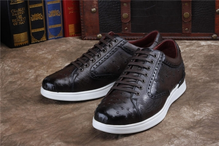 Daily Fashion Ostrich Lace-up Sneaker-Dark Brown-Exhibition