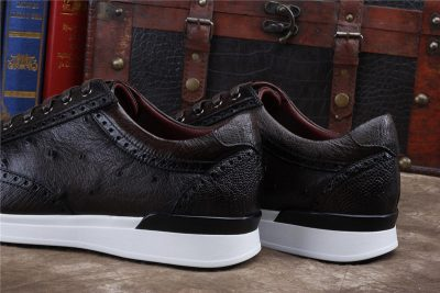 Daily Fashion Ostrich Lace-up Sneaker-Dark Brown-Heel