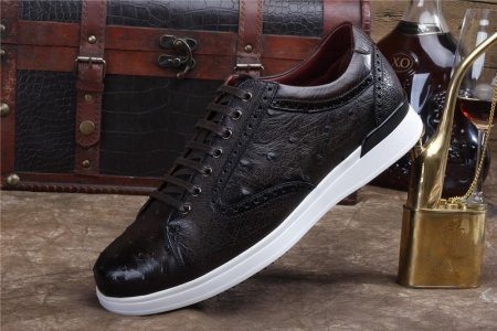 Daily Fashion Ostrich Lace-up Sneaker-Dark Brown-Side