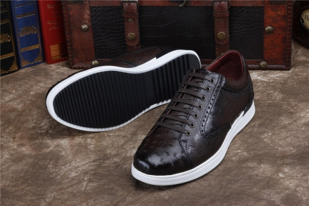 Daily Fashion Ostrich Lace-up Sneaker-Dark Brown-Sole