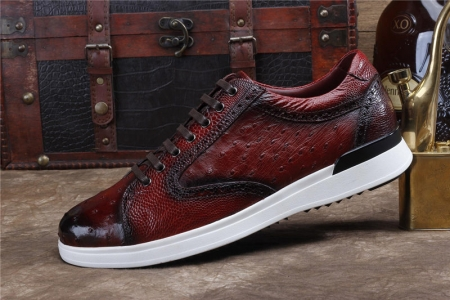 Daily Fashion Ostrich Lace-up Sneaker-Side