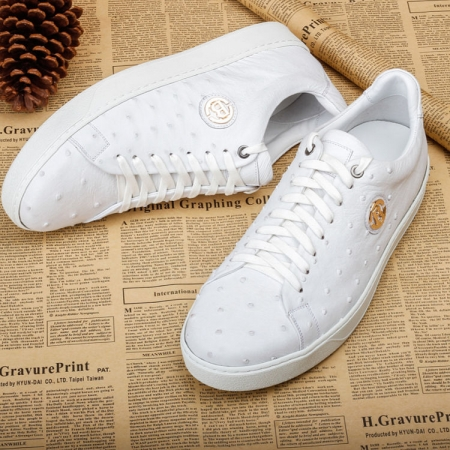 Daily Fashion Ostrich Lace-up Sneaker - White-1