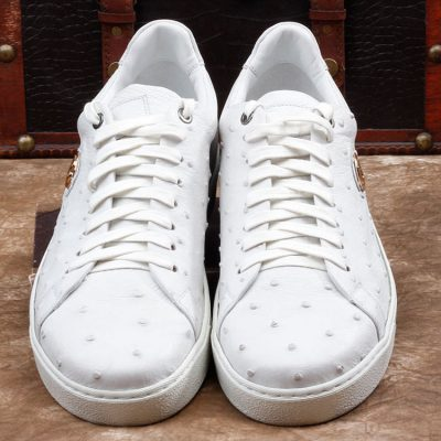 Daily Fashion Ostrich Lace-up Sneaker - White-Upper