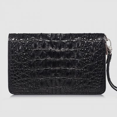 Double Zip Around Crocodile Wallet Large Clutch Organizer with Wristlet-Back