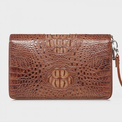 Double Zip Around Crocodile Wallet Large Clutch Organizer with Wristlet-Brown