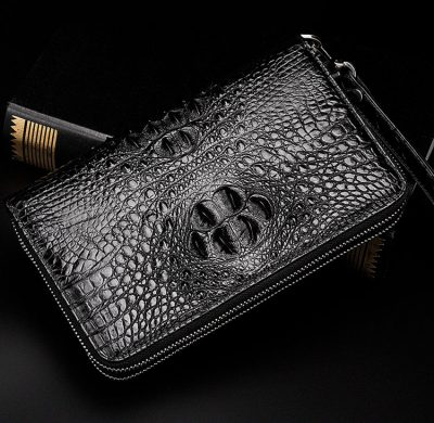 Double Zip Around Crocodile Wallet Large Clutch Organizer with Wristlet-Exhibition