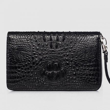 Double Zip Around Crocodile Wallet Large Clutch Organizer with Wristlet-Front