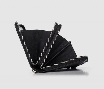 Double Zip Around Crocodile Wallet Large Clutch Organizer with Wristlet-Zipper