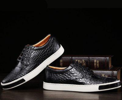 Fashion Alligator Wingtip Oxford Sneakers - Black-Exhibition