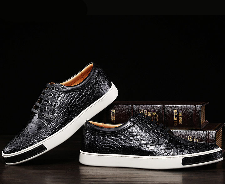 Fashion Alligator Wingtip Oxford Sneakers - Black-Exhibition