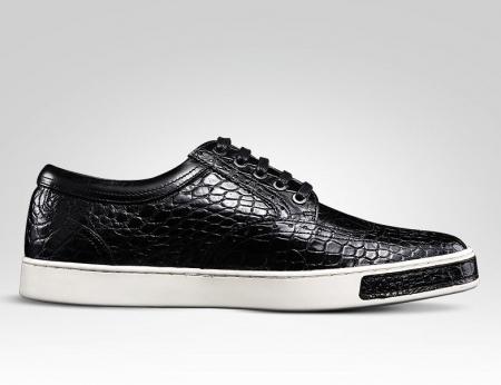 Fashion Alligator Wingtip Oxford Sneakers - Black-Side