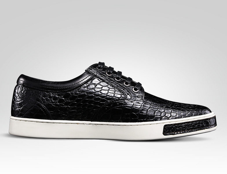 Fashion Alligator Wingtip Oxford Sneakers - Black-Side