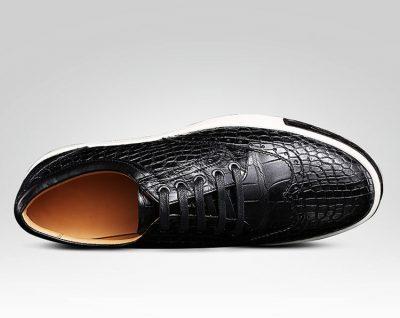 Fashion Alligator Wingtip Oxford Sneakers - Black-Upper