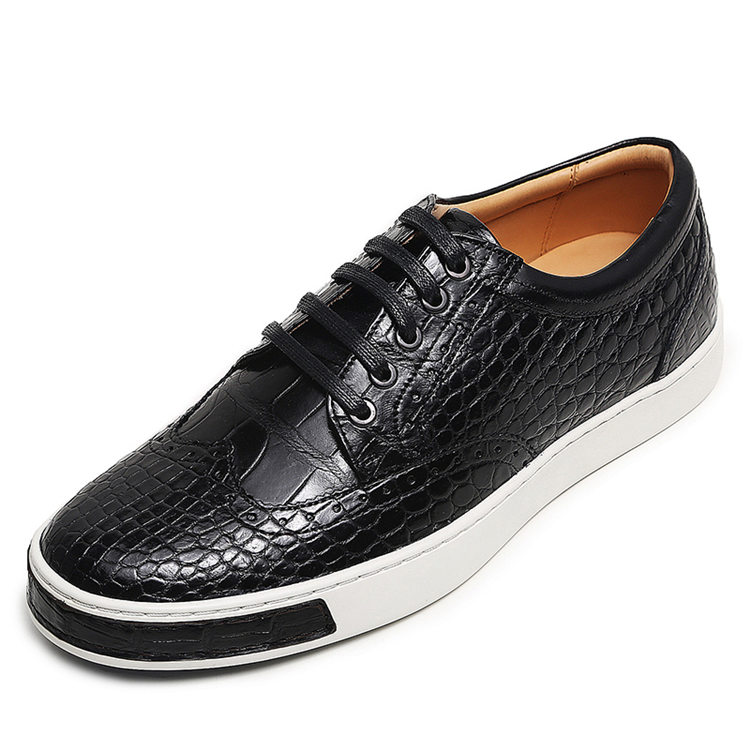 Fashion Alligator Wingtip Oxford Sneakers - Black