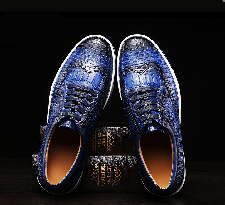 Fashion Alligator Wingtip Oxford Sneakers - Blue-Exhibition