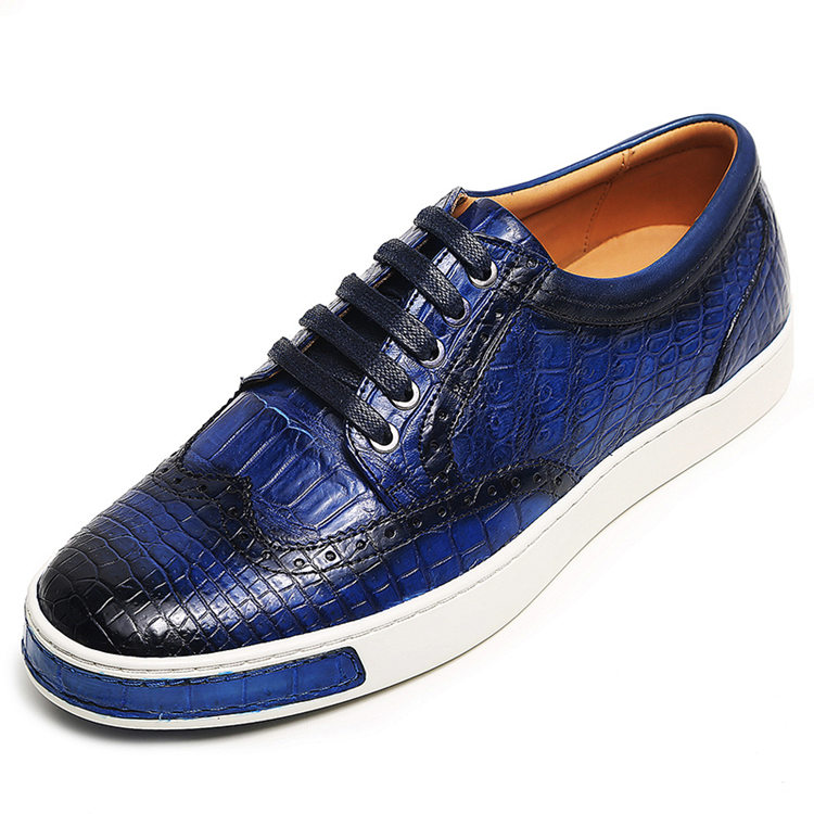 Fashion Alligator Wingtip Oxford Sneakers - Blue