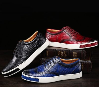 Fashion Alligator Wingtip Oxford Sneakers-Exhibitions