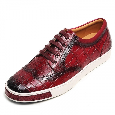 Fashion Alligator Wingtip Oxford Sneakers - Wine Red