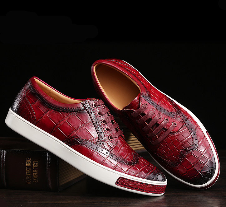 Fashion Alligator Wingtip Oxford Sneakers - Wine Red-Exhibition