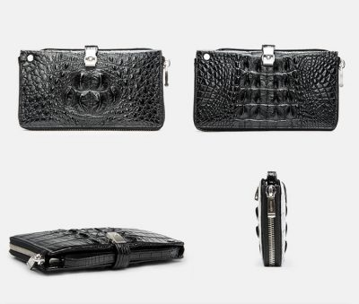 Fashion Crocodile Clutch Wallet, Crocodile Long Bifold Wallet-1