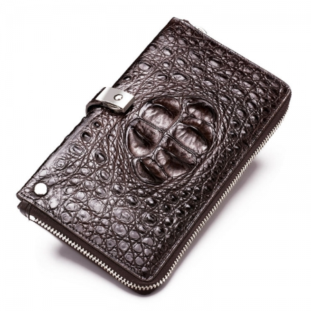 Fashion Crocodile Clutch Wallet, Crocodile Long Bifold Wallet