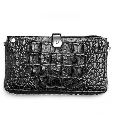 Fashion Crocodile Clutch Wallet, Crocodile Long Bifold Wallet-Black-Back