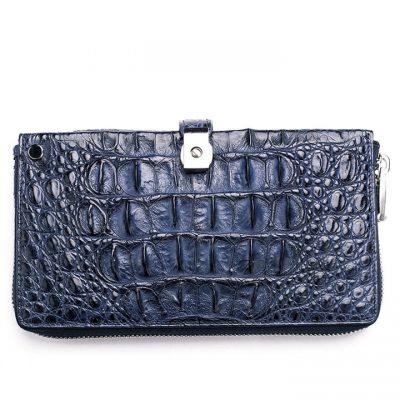 Fashion Crocodile Clutch Wallet, Crocodile Long Bifold Wallet-Blue-Back