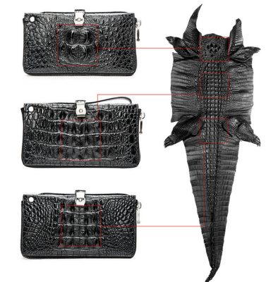 Fashion Crocodile Clutch Wallet, Crocodile Long Bifold Wallet-Details