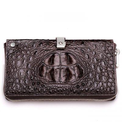 Fashion Crocodile Clutch Wallet, Crocodile Long Bifold Wallet-Front
