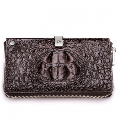 Fashion Crocodile Clutch Wallet, Crocodile Long Bifold Wallet-Front