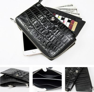 Fashion Crocodile Clutch Wallet, Crocodile Long Bifold Wallet-Inside