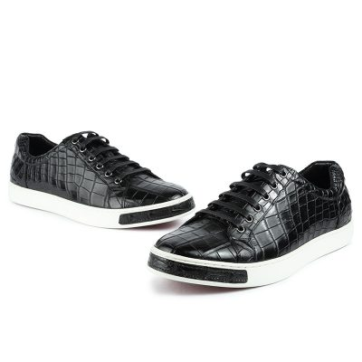 Fashion Genuine Alligator Skin Lace-Up Sneaker - Black-1