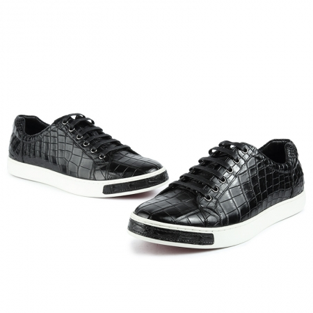Fashion Genuine Alligator Skin Lace-Up Sneaker - Black-1