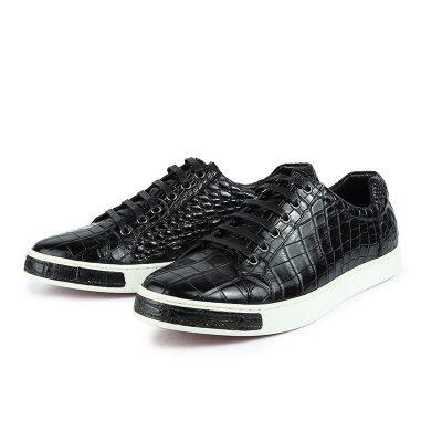Fashion Genuine Alligator Skin Lace-Up Sneaker - Black-2