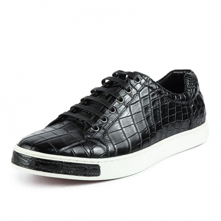 Fashion Genuine Alligator Skin Lace-Up Sneaker - Black