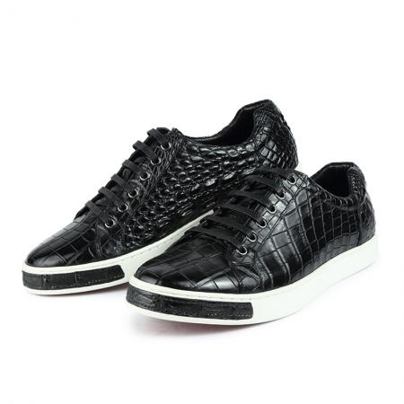 Fashion Genuine Alligator Skin Lace-Up Sneaker - Black-Exhibition