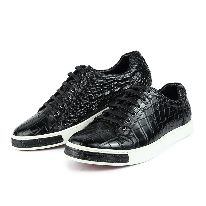 Fashion Genuine Alligator Skin Lace-Up Sneaker - Black-Exhibition