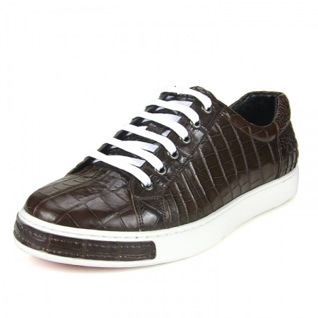 Fashion Genuine Alligator Skin Lace-Up Sneaker - Brown