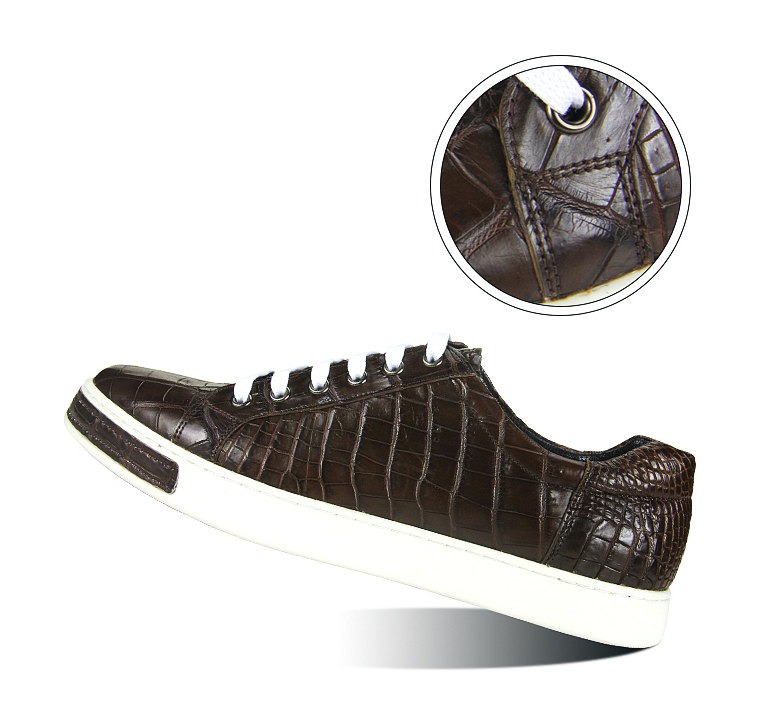 Fashion Genuine Alligator Skin Lace-Up Sneaker - Brown-Details