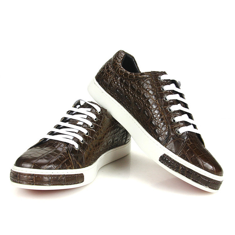 Fashion Genuine Alligator Skin Lace-Up Sneaker - Brown-Exhibition