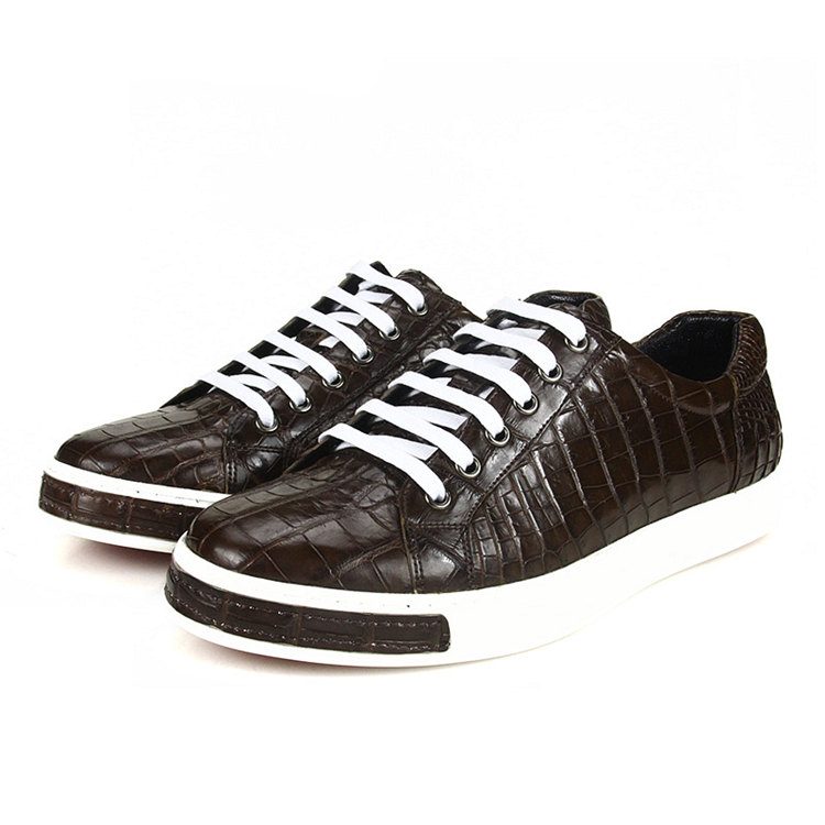 Fashion Genuine Alligator Skin Lace-Up Sneaker - Brown-Lace Up