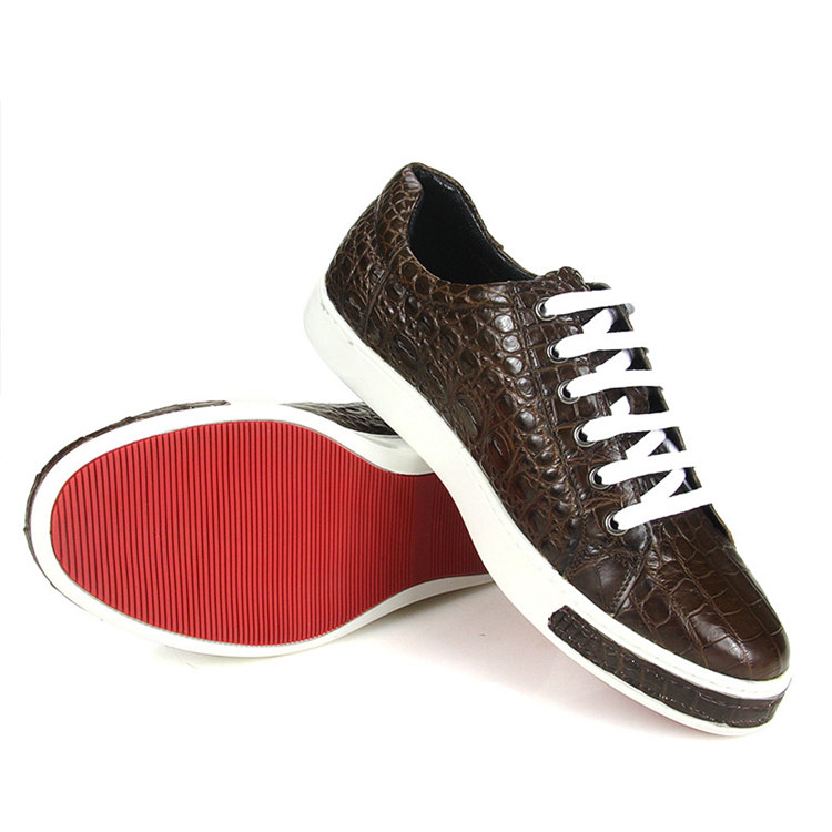 Fashion Genuine Alligator Skin Lace-Up Sneaker - Brown-Sole