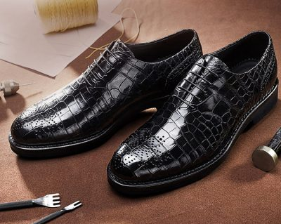 Genuine Alligator Skin Formal Dress Shoes-Exhibition