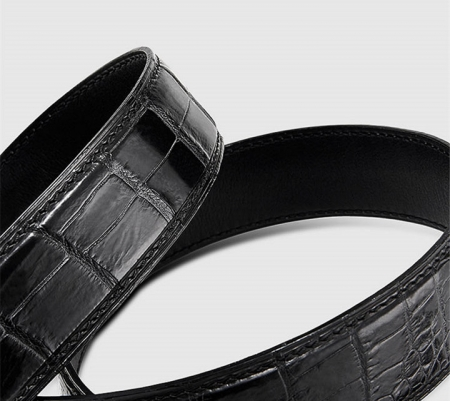 Luxury Automatic Buckle Genuine Alligator Skin Dress Belt-1