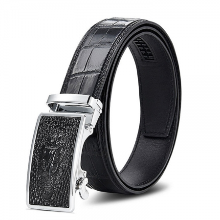 Luxury Automatic Buckle Genuine Alligator Skin Dress Belt